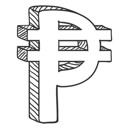 Vector Black Sketch Philippine Currency Symbol. Pesos Sign. Illustration