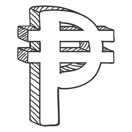 Vector Black Sketch Philippine Currency Symbol. Pesos Sign. Иллюстрация