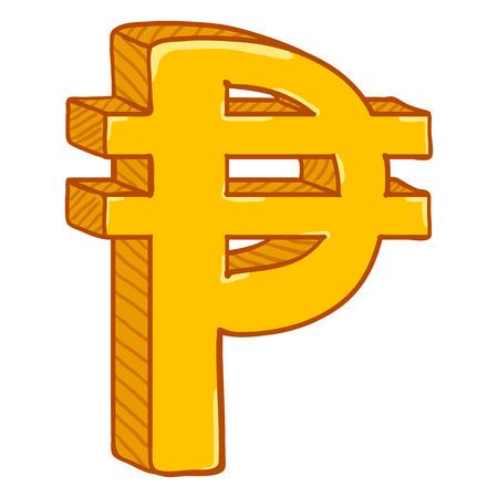 Simbolo di valuta filippina dell'oro del fumetto di vettore. Segno di pesos Vettoriali