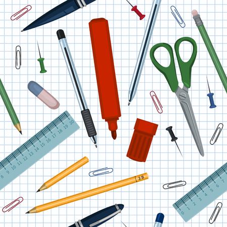 Vector Seamless Pattern of Flat School Stationery Items on Checkered Paper Background