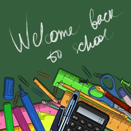 Illustration de dessin animé de vecteur - tas de papeterie et de texte Bienvenue à l'école sur fond de tableau Vecteurs