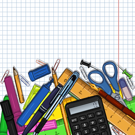 Vector Cartoon Illustration - Pile of Stationery with Cope Space on Checkered Paper Background Illustration