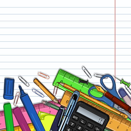 Vector Cartoon Illustration - Pile of Stationery with Cope Space on Lined Paper Background Stock Illustratie