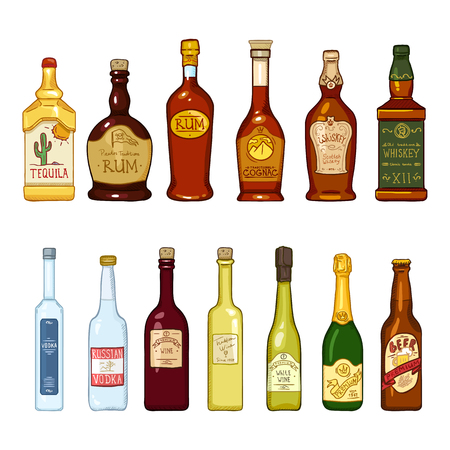 Vector Set of Cartoon Alcohol Drinks Glass Bottles Illustrations on White Background
