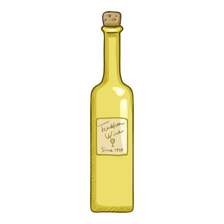 Vector Cartoon Illustration - Vector Sketch Illustration - Glass Bottle of White Wine Illustration