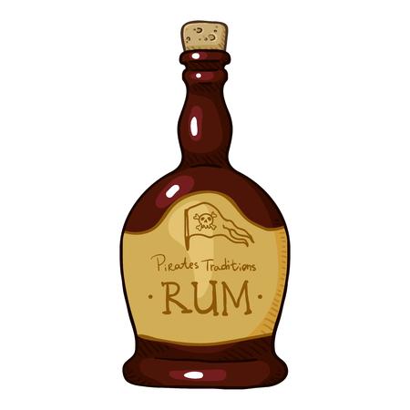 Vector Cartoon Illustration - Bottle of Rum Illustration