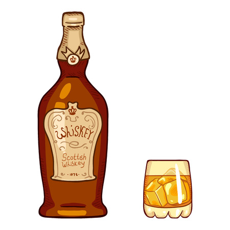 Vector Cartoon Illustration - Whiskey Bottle and Glass