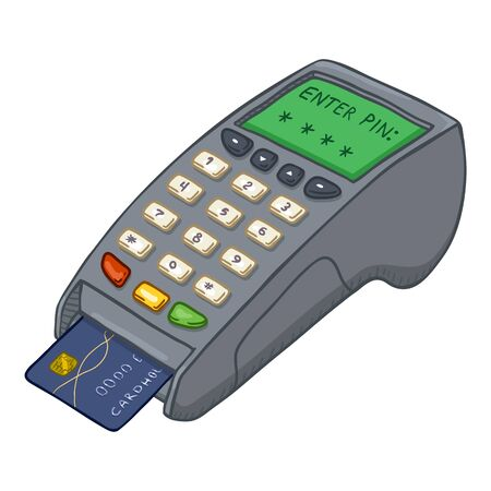 Vector Cartoon Payment Terminal with Credit Card Inside It.