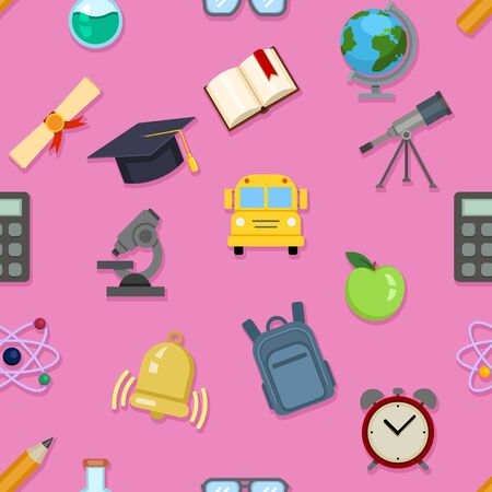 Vector Seamless Pattern of School Color Icons on Pink Background Иллюстрация