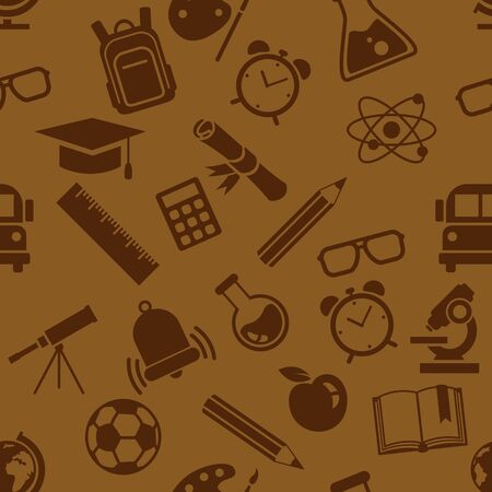 Vector Seamless Pattern of School Icons on Brown Background