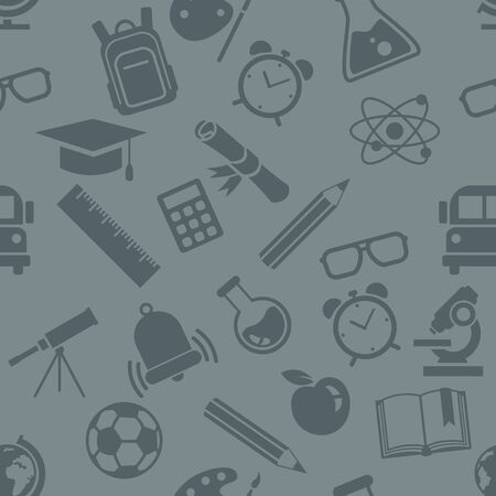 Vector Seamless Pattern of School Icons on Gray Background