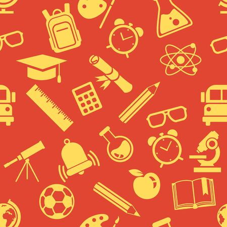 Vector Seamless Pattern of Yellow School Icons on Red Background