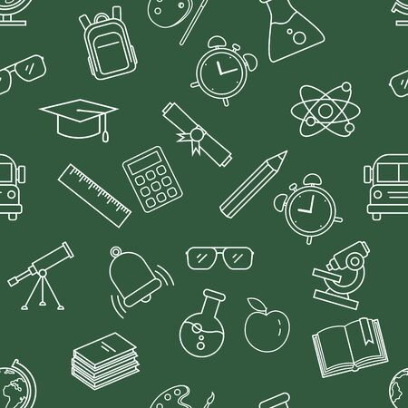 Vector Seamless Pattern with White Outline School Icons on Dark Green Background Ilustração