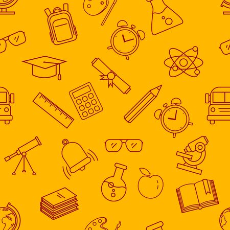 Vector Seamless Pattern with Red Outline School Icons on Yellows Background