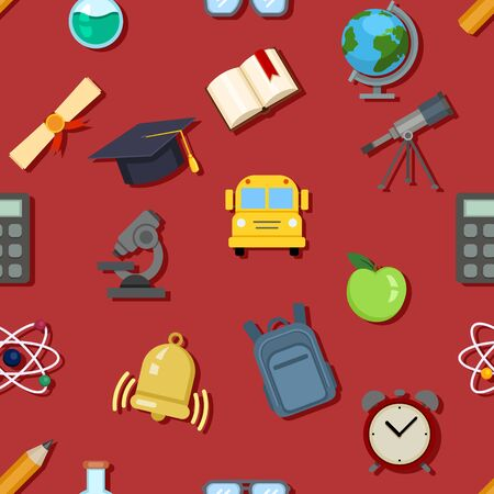 Vector Seamless Pattern of School Color Icons on Red Background
