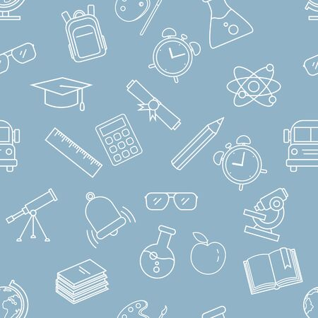 Vector Seamless Pattern with White Outline School Icons on Blue Background