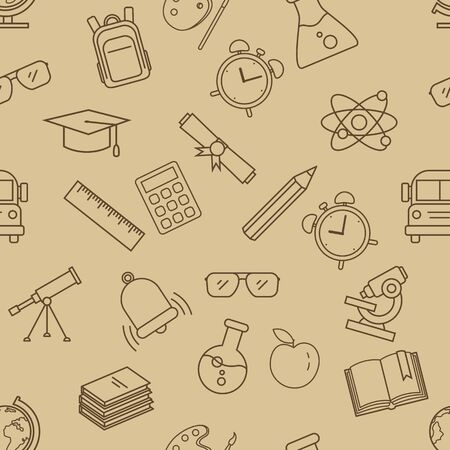Vector Seamless Pattern with Outline School Icons on Brown Background Ilustração