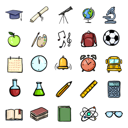 Vector Color Doodle Education Icons Set. University and School Subject Icons.