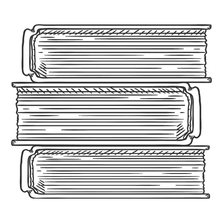 Vector Sketch Illustration - Stack of Books Çizim