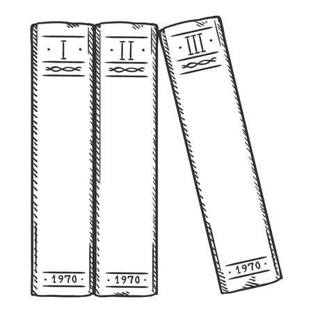 Vector Sketch Illustration - Three Books in a Row Çizim