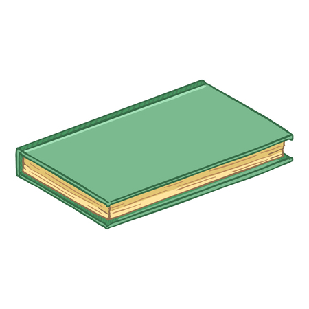 Vector Cartoon Illustration - Turquoise Hardcover Book