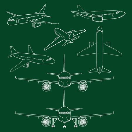 Vector Set of Chalk Sketch Airplanes. Civil Aviation Aircrafts. Side, Front, Back and Top View.
