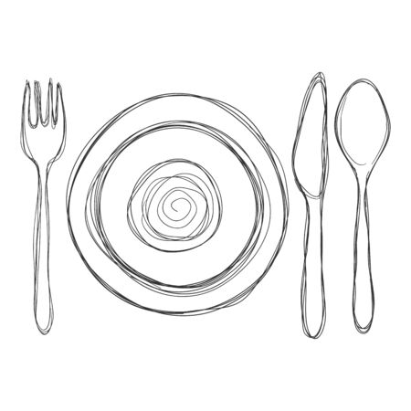 Wektor doodle szkic zestaw do jadalni - widelec, nóż, łyżka i talerze.
