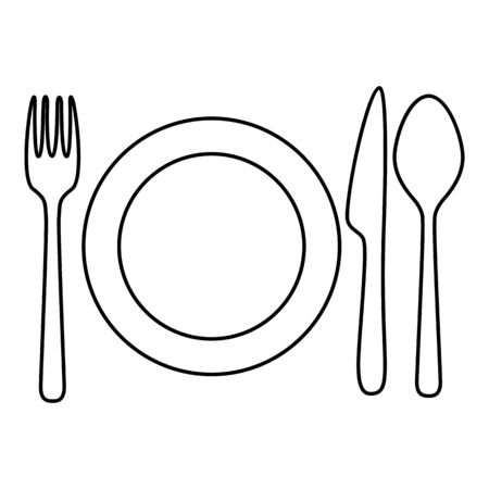 Vector Black Outline Lunch Icon - Cutlery and Plate Ilustracje wektorowe