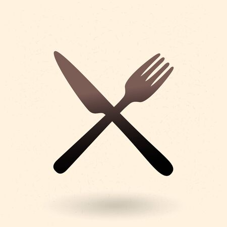 Vector Black Silhouette Icon - Crossing Cutlery. Fork and Table Knife. Ilustracja