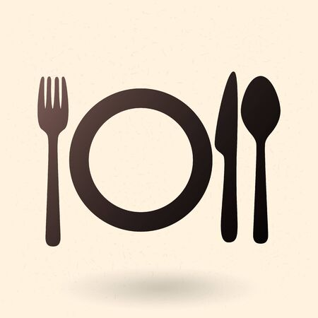 Vector Black Silhouette Icon - Fork, Knife, Spoon and Plates. Dinner Icon. Ilustracja