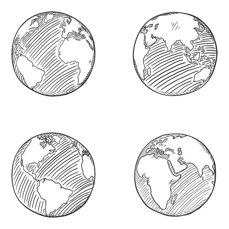 Vector Set of Sketch Globe Illustrations. 4 different Foreshortening of Earth Planet. Zdjęcie Seryjne - 124224527