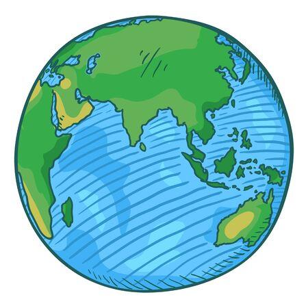 Vector Single Cartoon Color Globe Earth Illustration on Isolated Background Ilustração