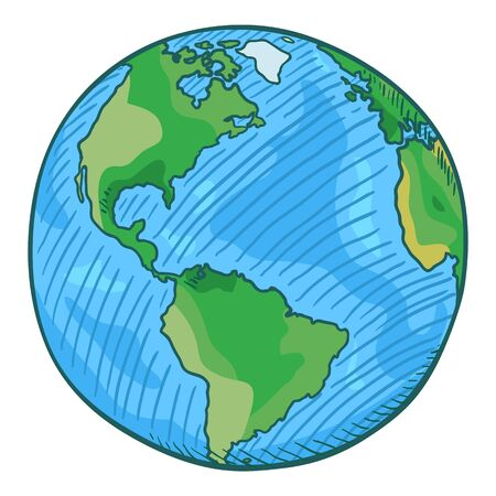 Vector Single Cartoon Color Globe Illustration on Isolated Background