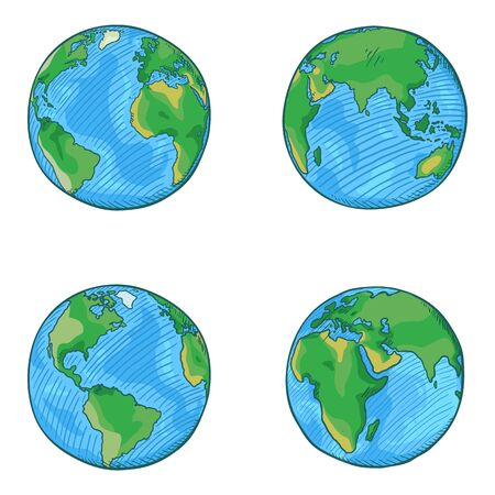 Vector Set of Cartoon Globe Illustrations. 4 different Foreshortening of Earth Planet.
