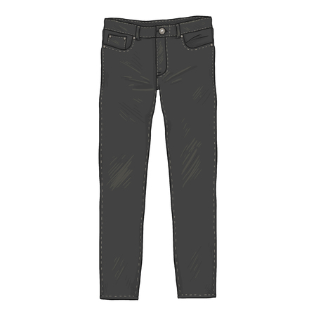 Vector Cartoon Illustratie - Zwarte Denim Jeans Broek. Vooraanzicht.