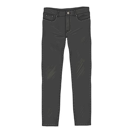 Vector Cartoon Illustration - Black Denim Jeans Pants. Front View.