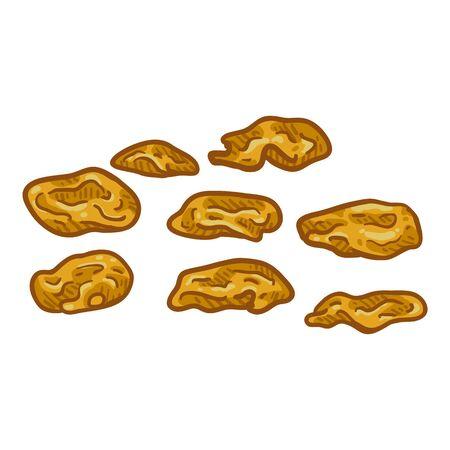 Vector Cartoon Illustration - Golden Raisin. Dried Grapes Ilustracja
