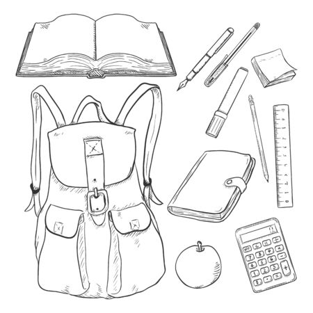 Vector Set of Sketch Backpack and School Supplies. Stationery, Books and Notepad. Illusztráció