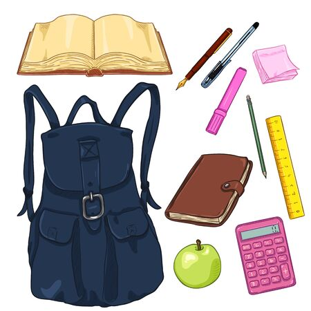 Vector Set of Cartoon Backpack and School Supplies. Books and Stationery.