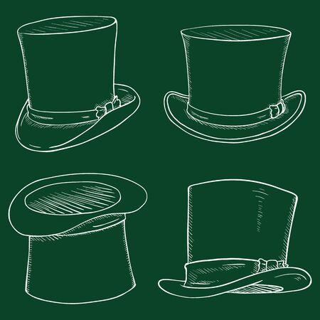 Vector Set of Chalk Sketch Cylinder Hats