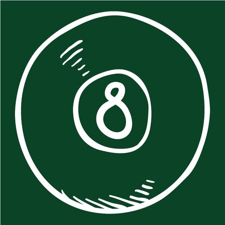 Vector Chalk Sketch Billiard Ball with Number Eight Stock Illustratie