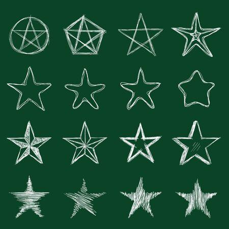 Vector Set of Chalk Sketch Stars. Abstract Doodle Illustrations Illusztráció