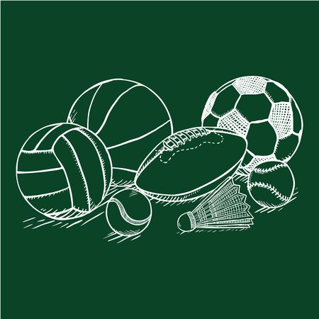 Vector Chalk Sketch Sport Set - Pile of Different Balls and Equipment Banco de Imagens - 131976046