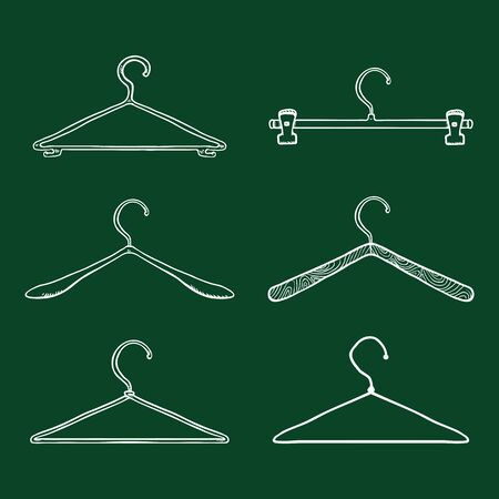 Vector Set of Chalk Sketch Shoulder Hangers for Clothing. Wardrobe Equipment  イラスト・ベクター素材