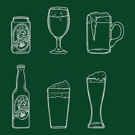 Vector Chalk Sketch Set of Beer Glasses, Bottle and Can. Outline Illustrations for Bar Menu.