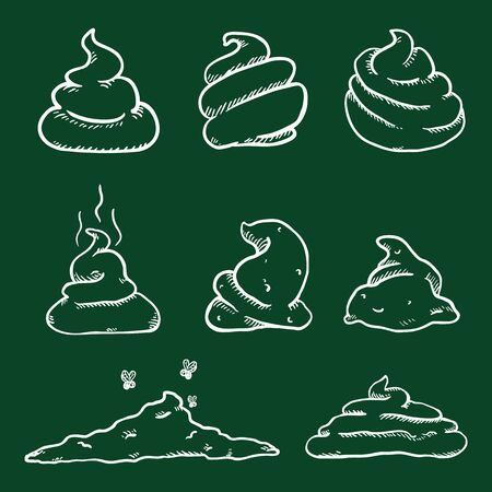 Vector Set of Chalk Sketch Doodle Poop. Hand Drawn Shit Variations.