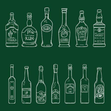 Vector Set of Chalk Sketch Alcohol Drinks Glass Bottles Illustrations