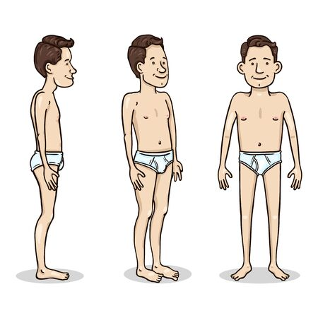 Vector Cartoon Color Character - Young Man in White Underpants. Set of Different Foreshortening.