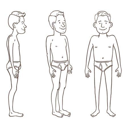 Vector Outline Character - Young Man in White Underpants. Set of Different Foreshortening.