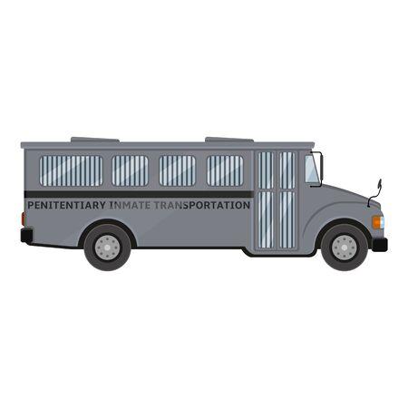 Bus de prison gris. Vue de côté.